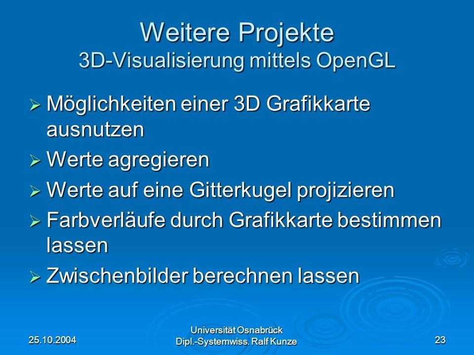 25.10.2004 Universität Osnabrück Dipl.-Systemwiss. Ralf Kunze 23 Weitere Projekte 3D-Visualisierung mittels OpenGL Möglichkeiten einer 3D Grafikkarte