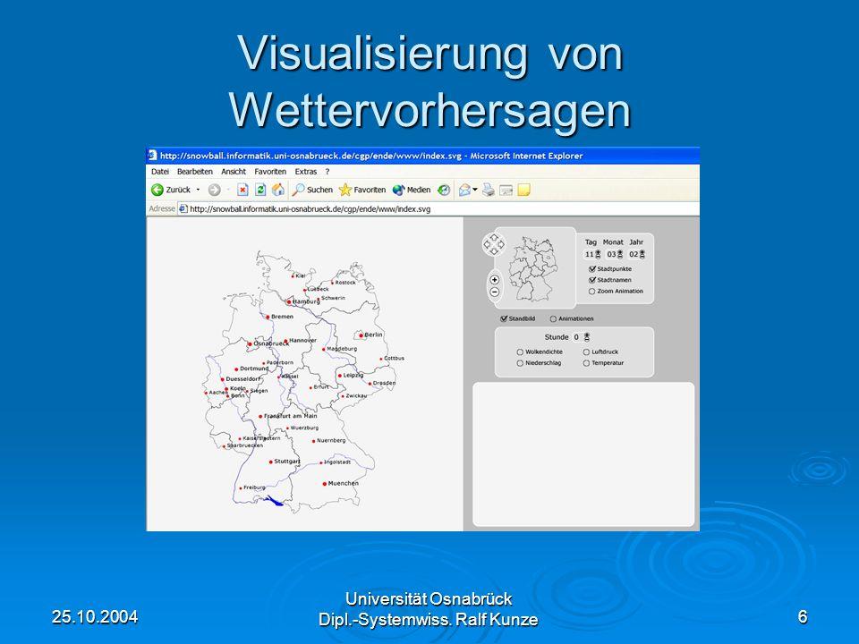 25.10.2004 Universität Osnabrück Dipl.-Systemwiss. Ralf Kunze 6 Visualisierung von Wettervorhersagen
