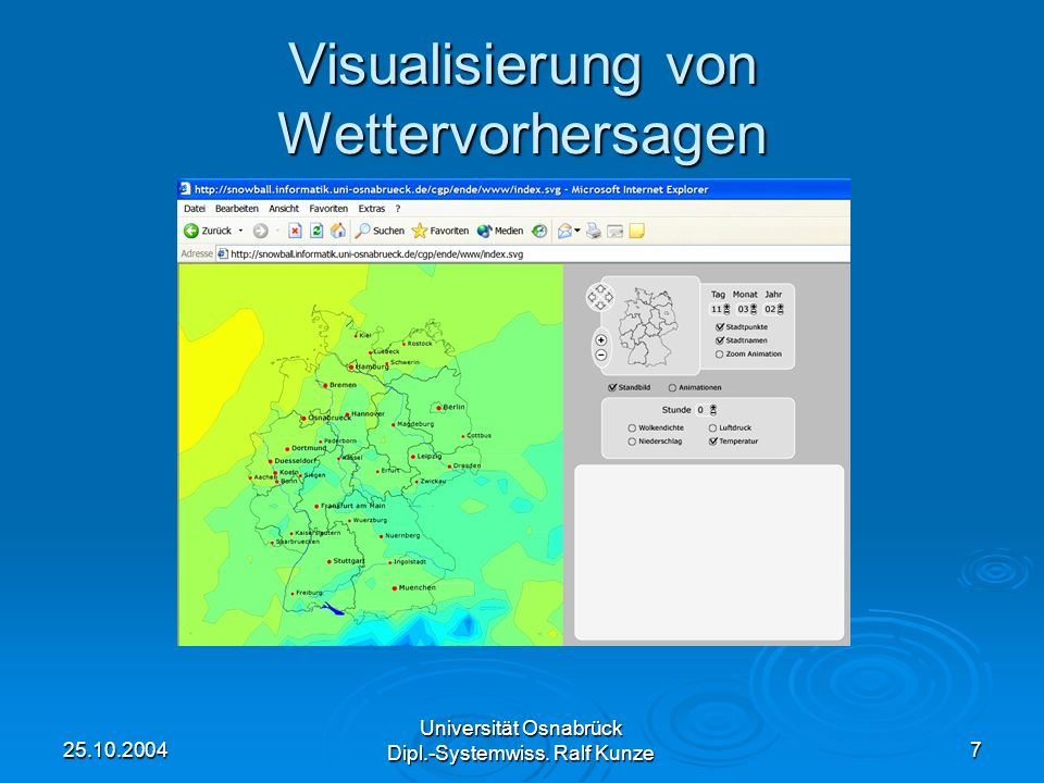 25.10.2004 Universität Osnabrück Dipl.-Systemwiss. Ralf Kunze 7 Visualisierung von Wettervorhersagen