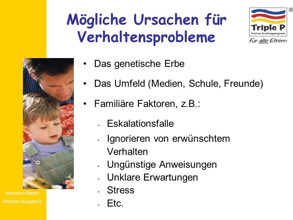 Vorname Name Weitere Angaben Mögliche Ursachen für Verhaltensprobleme Das genetische Erbe Das Umfeld (Medien, Schule, Freunde) Familiäre Faktoren, z.B