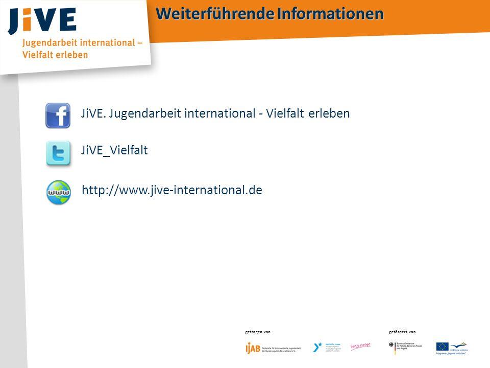 getragen von gefördert von getragen vongefördert von Weiterführende Informationen http://www.jive-international.de JiVE. Jugendarbeit international -