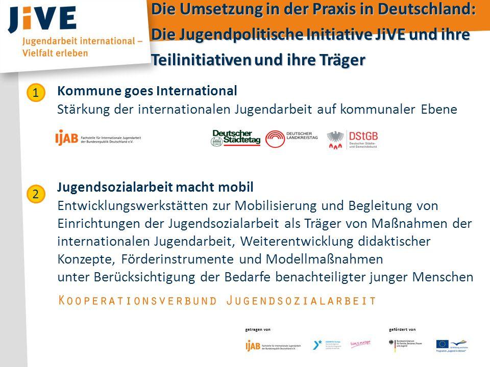 getragen von gefördert von getragen vongefördert von Die Umsetzung in der Praxis in Deutschland: Die Jugendpolitische Initiative JiVE und ihre Teilini