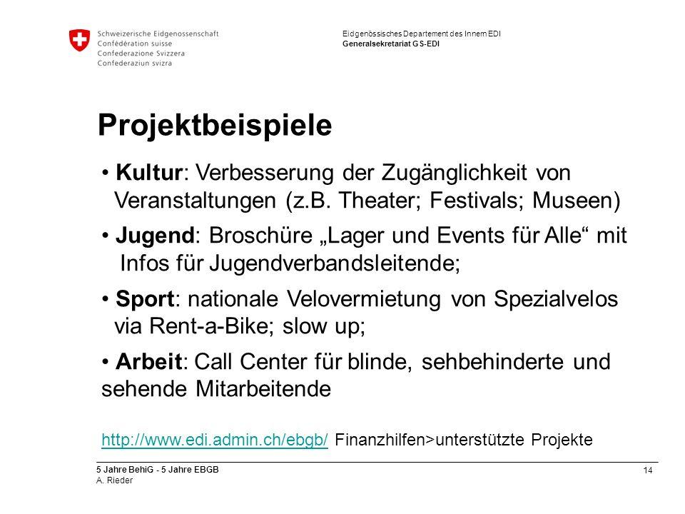 14 5 Jahre BehiG - 5 Jahre EBGB A. Rieder Eidgenössisches Departement des Innern EDI Generalsekretariat GS-EDI Projektbeispiele Kultur: Verbesserung d