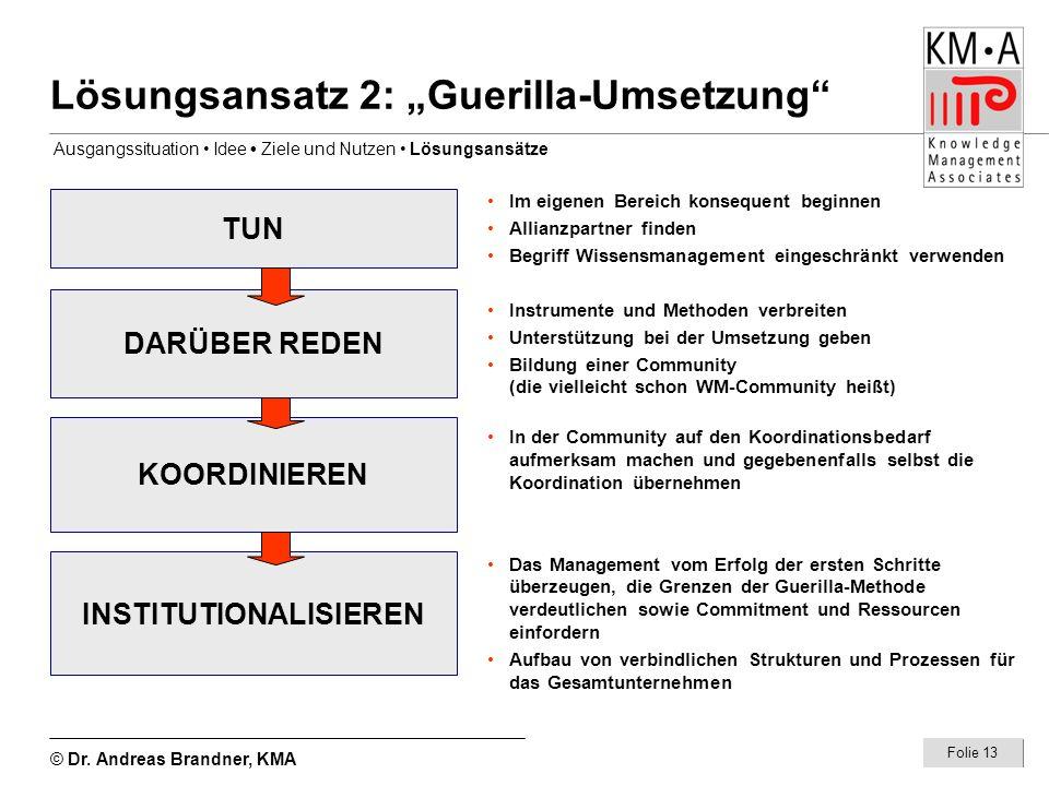 © Dr. Andreas Brandner, KMA Folie 13 Lösungsansatz 2: Guerilla-Umsetzung TUN DARÜBER REDEN KOORDINIEREN INSTITUTIONALISIEREN Im eigenen Bereich konseq