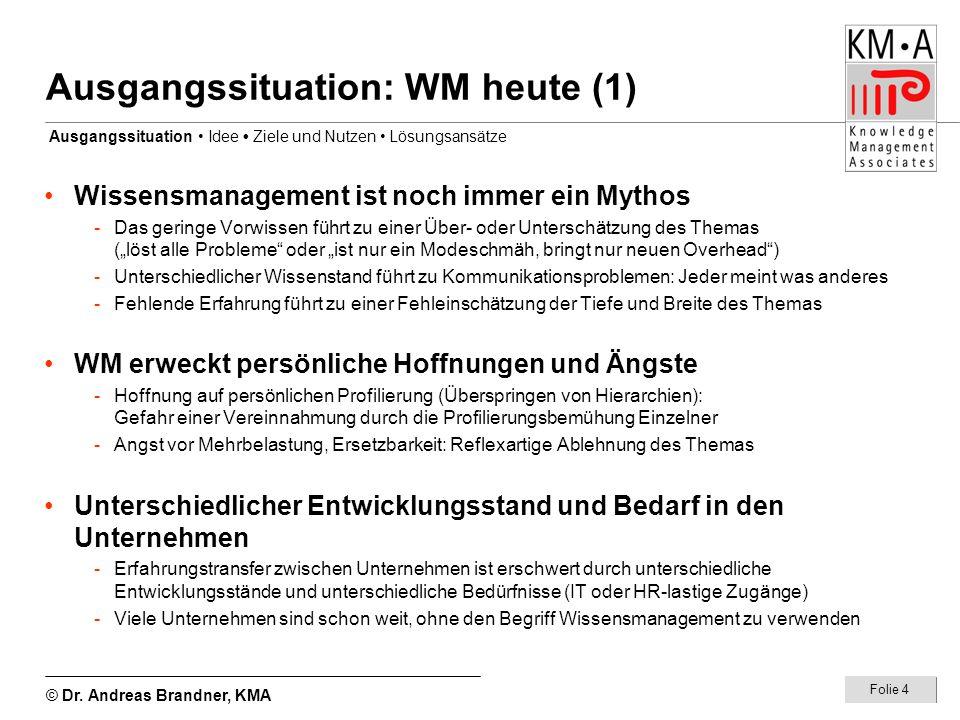 © Dr. Andreas Brandner, KMA Folie 4 Ausgangssituation: WM heute (1) Ausgangssituation Idee Ziele und Nutzen Lösungsansätze Wissensmanagement ist noch
