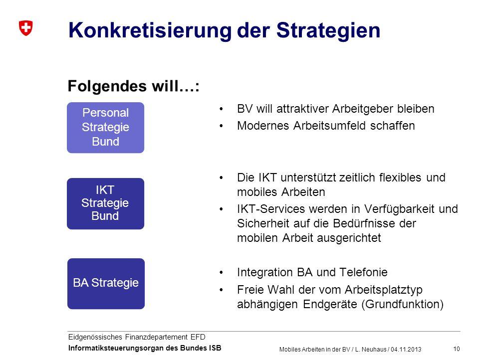 10 Eidgenössisches Finanzdepartement EFD Informatiksteuerungsorgan des Bundes ISB Konkretisierung der Strategien Folgendes will…: BV will attraktiver