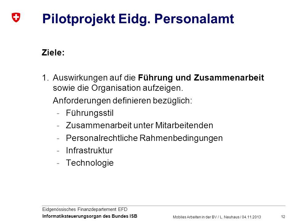 12 Eidgenössisches Finanzdepartement EFD Informatiksteuerungsorgan des Bundes ISB Pilotprojekt Eidg. Personalamt Ziele: 1.Auswirkungen auf die Führung