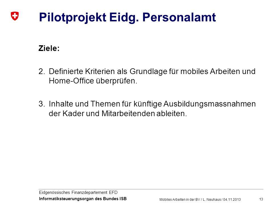 13 Eidgenössisches Finanzdepartement EFD Informatiksteuerungsorgan des Bundes ISB Pilotprojekt Eidg. Personalamt Ziele: 2.Definierte Kriterien als Gru