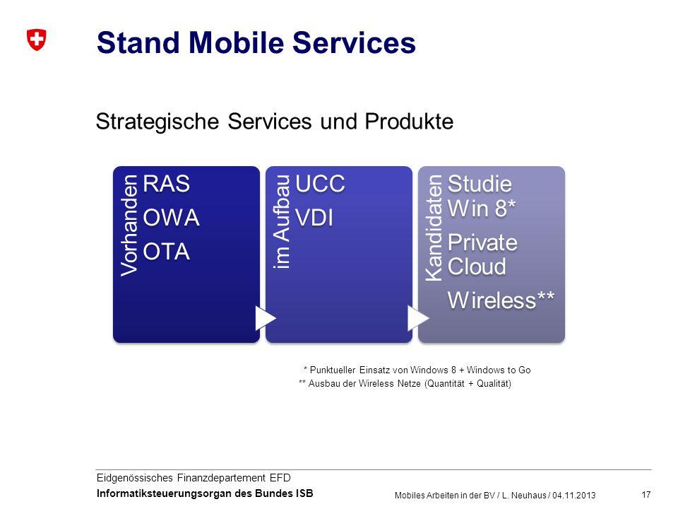 17 Eidgenössisches Finanzdepartement EFD Informatiksteuerungsorgan des Bundes ISB Stand Mobile Services Mobiles Arbeiten in der BV / L. Neuhaus / 04.1