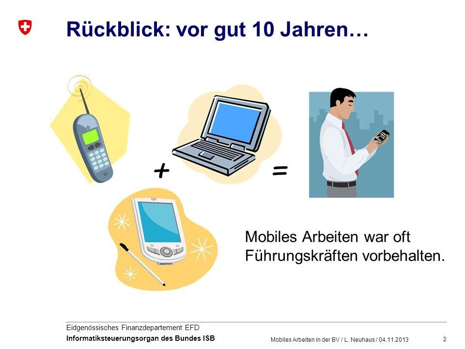 2 Eidgenössisches Finanzdepartement EFD Informatiksteuerungsorgan des Bundes ISB Rückblick: vor gut 10 Jahren… Mobiles Arbeiten in der BV / L. Neuhaus