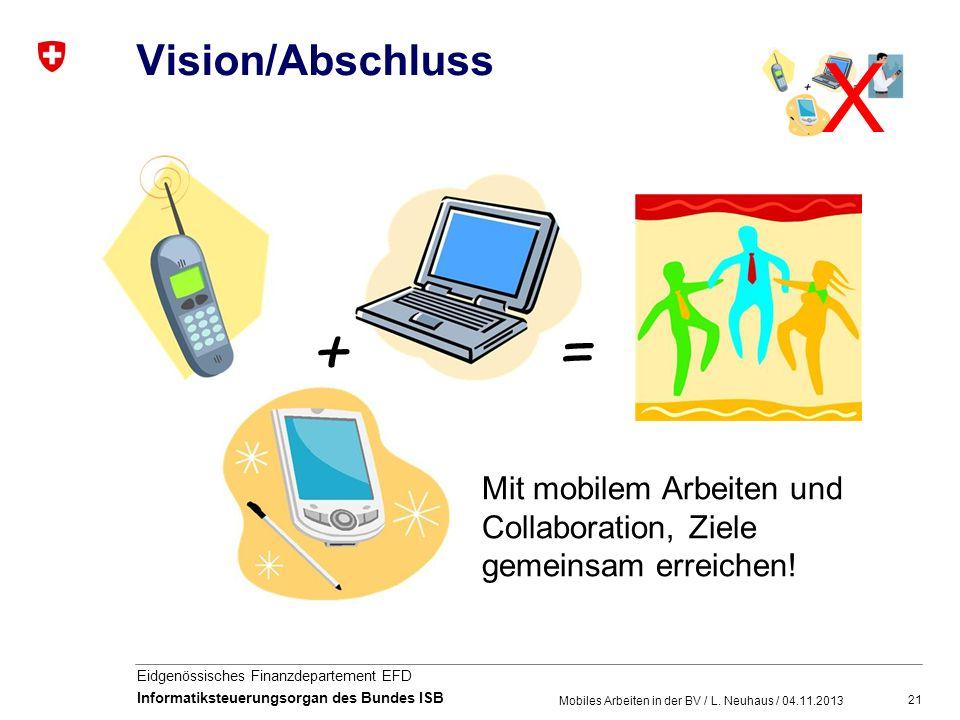 21 Eidgenössisches Finanzdepartement EFD Informatiksteuerungsorgan des Bundes ISB Vision/Abschluss Mobiles Arbeiten in der BV / L. Neuhaus / 04.11.201