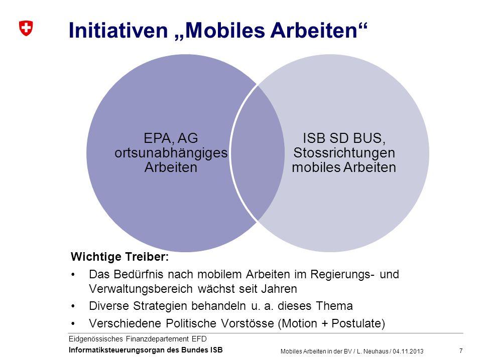 7 Eidgenössisches Finanzdepartement EFD Informatiksteuerungsorgan des Bundes ISB Initiativen Mobiles Arbeiten Mobiles Arbeiten in der BV / L. Neuhaus