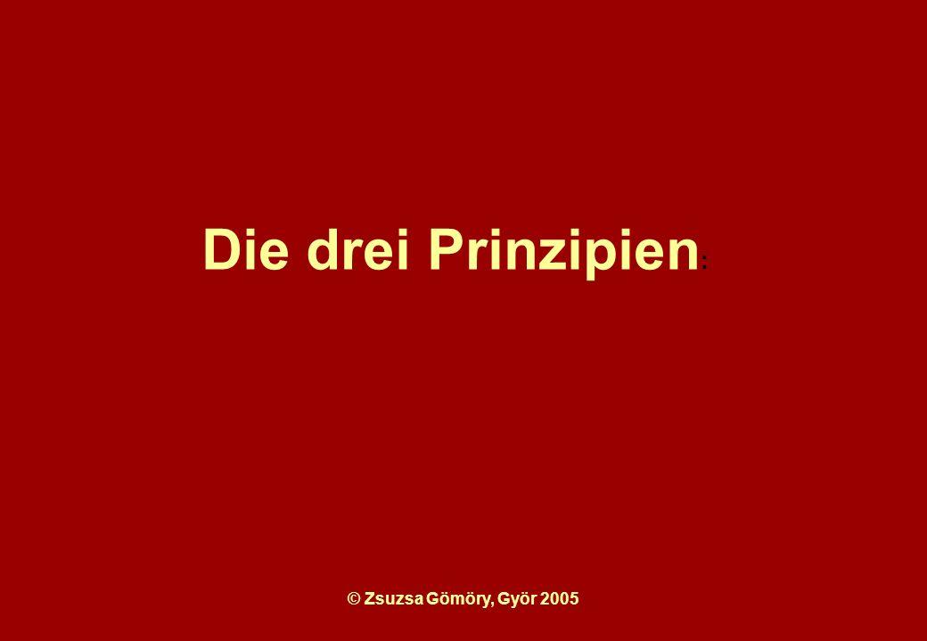 © Zsuzsa Gömöry, Györ 2005 Die drei Prinzipien :