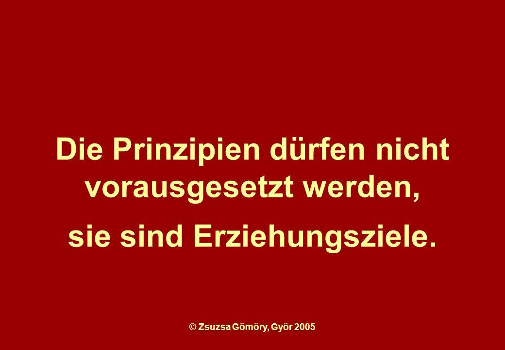 Die Prinzipien dürfen nicht vorausgesetzt werden, sie sind Erziehungsziele.