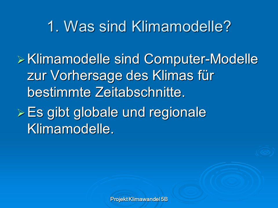 Projekt Klimawandel 5B 1.Was sind Klimamodelle.