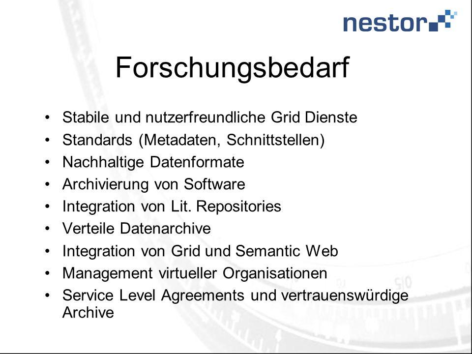 Forschungsbedarf Stabile und nutzerfreundliche Grid Dienste Standards (Metadaten, Schnittstellen) Nachhaltige Datenformate Archivierung von Software Integration von Lit.