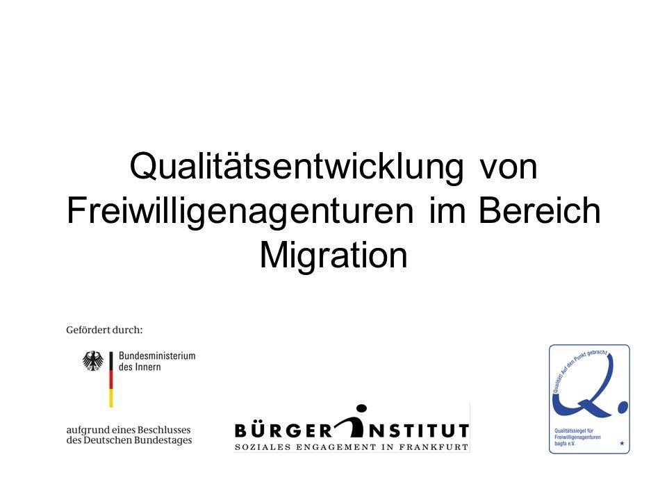 Qualitätsentwicklung von Freiwilligenagenturen im Bereich Migration