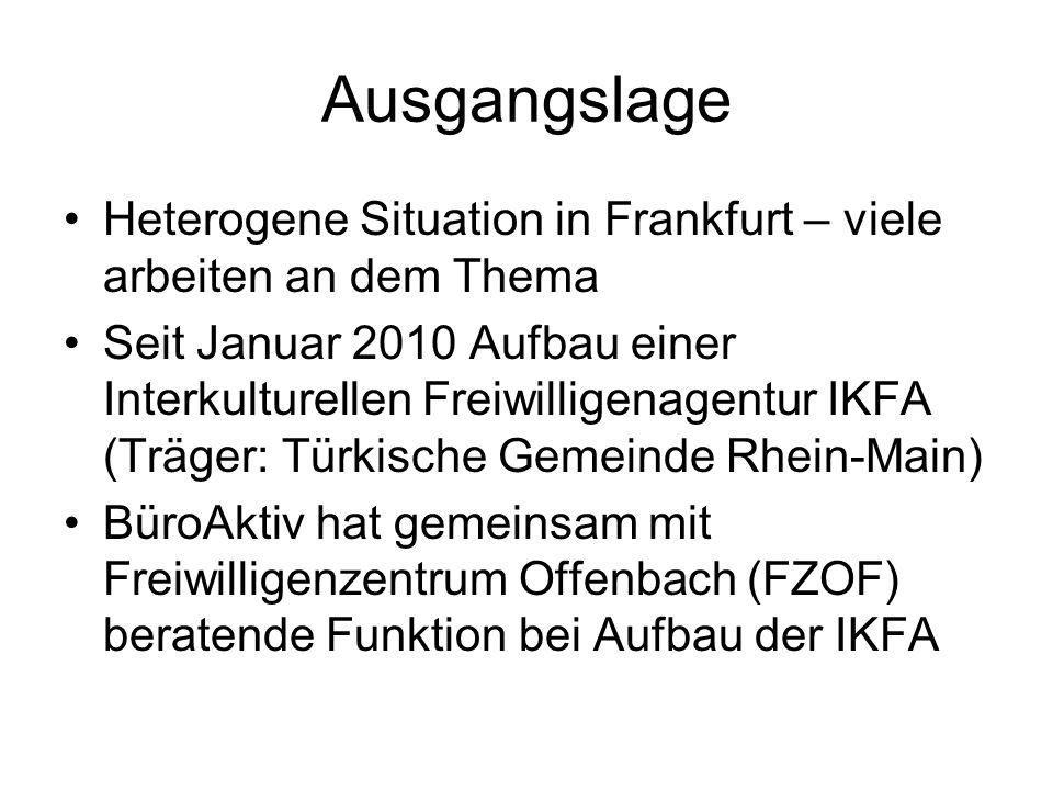 Ausgangslage Heterogene Situation in Frankfurt – viele arbeiten an dem Thema Seit Januar 2010 Aufbau einer Interkulturellen Freiwilligenagentur IKFA (Träger: Türkische Gemeinde Rhein-Main) BüroAktiv hat gemeinsam mit Freiwilligenzentrum Offenbach (FZOF) beratende Funktion bei Aufbau der IKFA