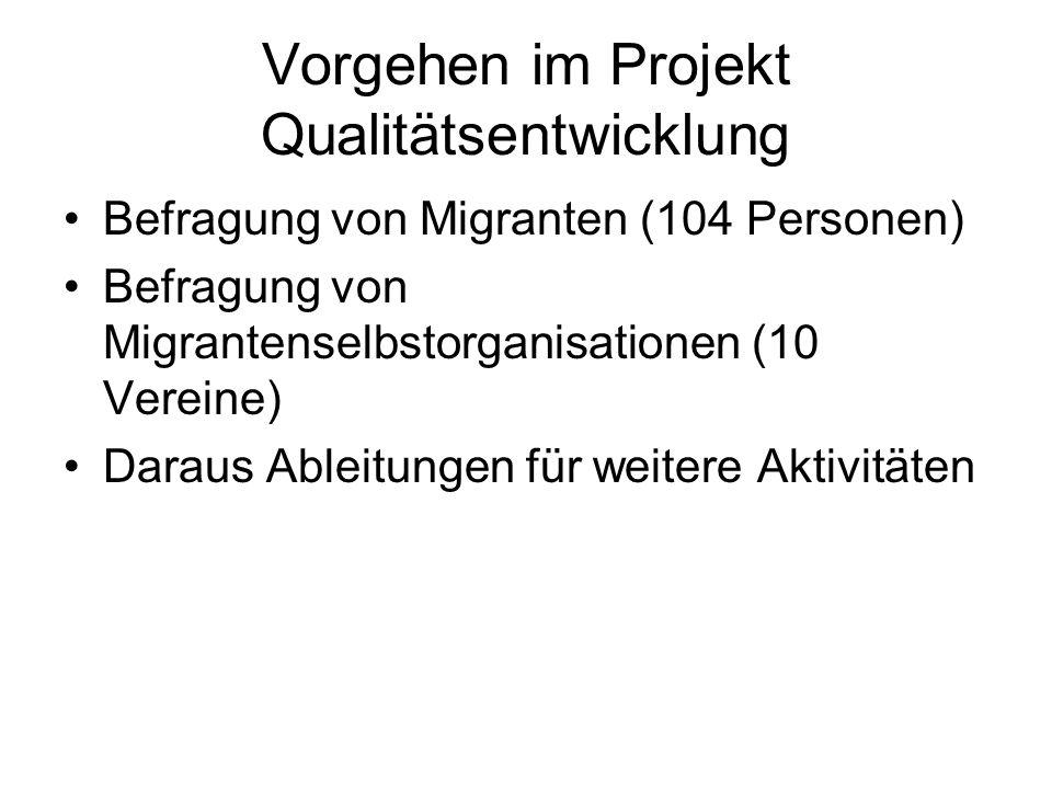 Vorgehen im Projekt Qualitätsentwicklung Befragung von Migranten (104 Personen) Befragung von Migrantenselbstorganisationen (10 Vereine) Daraus Ableitungen für weitere Aktivitäten