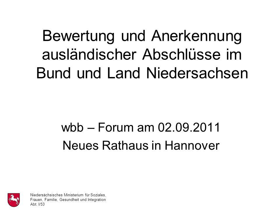 Niedersächsisches Ministerium für Soziales, Frauen, Familie, Gesundheit und Integration Abt.