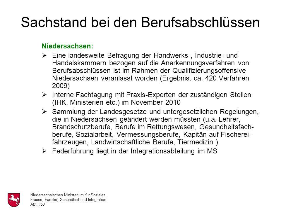 Niedersächsisches Ministerium für Soziales, Frauen, Familie, Gesundheit und Integration Abt. I/53 Sachstand bei den Berufsabschlüssen Niedersachsen: E