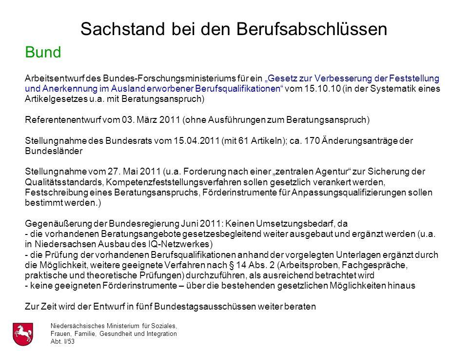 Niedersächsisches Ministerium für Soziales, Frauen, Familie, Gesundheit und Integration Abt. I/53 Bund Arbeitsentwurf des Bundes-Forschungsministerium