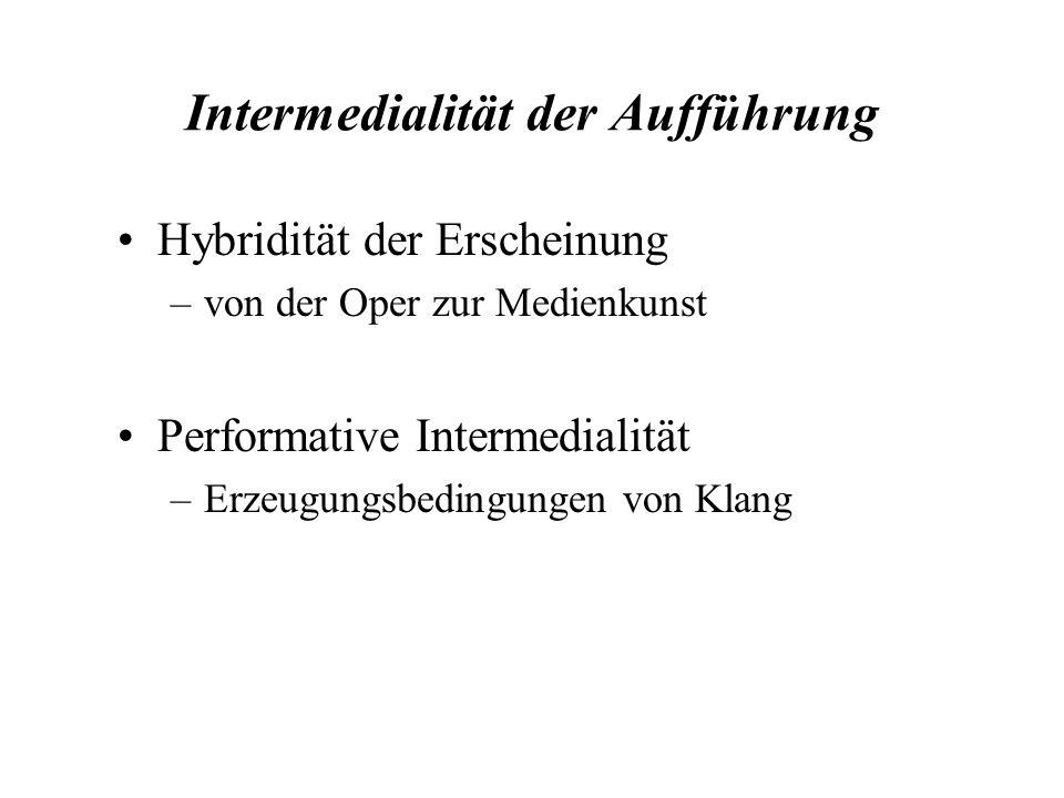 Intermedialität der Aufführung Hybridität der Erscheinung –von der Oper zur Medienkunst Performative Intermedialität –Erzeugungsbedingungen von Klang