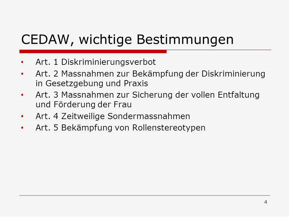 CEDAW, wichtige Bestimmungen Art. 1 Diskriminierungsverbot Art. 2 Massnahmen zur Bekämpfung der Diskriminierung in Gesetzgebung und Praxis Art. 3 Mass