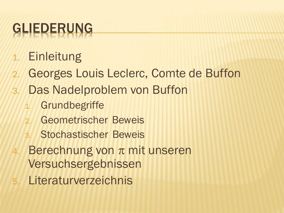 1. Einleitung 2. Georges Louis Leclerc, Comte de Buffon 3. Das Nadelproblem von Buffon 1. Grundbegriffe 2. Geometrischer Beweis 3. Stochastischer Bewe