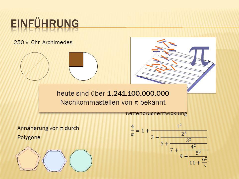 250 v. Chr. Archimedes Annäherung von durch Polygone Kettenbruchentwicklung heute sind über 1.241.100.000.000 Nachkommastellen von bekannt