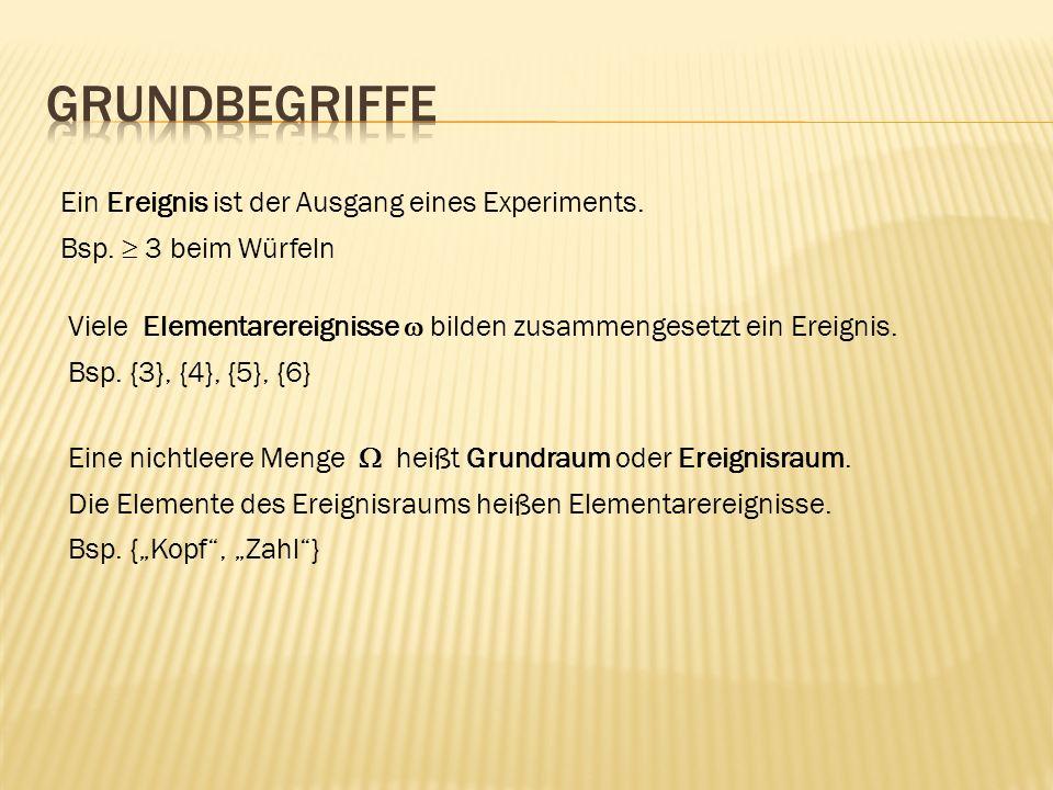 Ein Ereignis ist der Ausgang eines Experiments. Bsp. 3 beim Würfeln Viele Elementarereignisse bilden zusammengesetzt ein Ereignis. Bsp. {3}, {4}, {5},