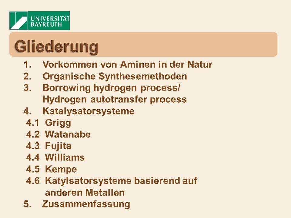 1. Vorkommen von Aminen in der Natur 2. Organische Synthesemethoden 3. Borrowing hydrogen process/ Hydrogen autotransfer process 4. Katalysatorsysteme