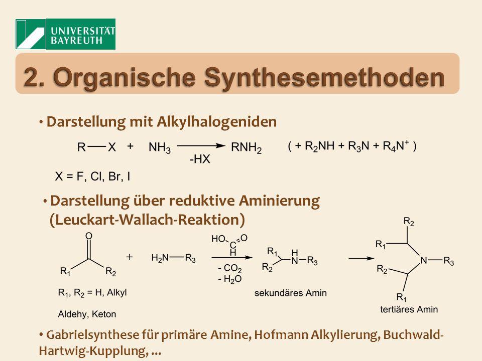 Darstellung mit Alkylhalogeniden Darstellung über reduktive Aminierung (Leuckart-Wallach-Reaktion) Gabrielsynthese für primäre Amine, Hofmann Alkylier