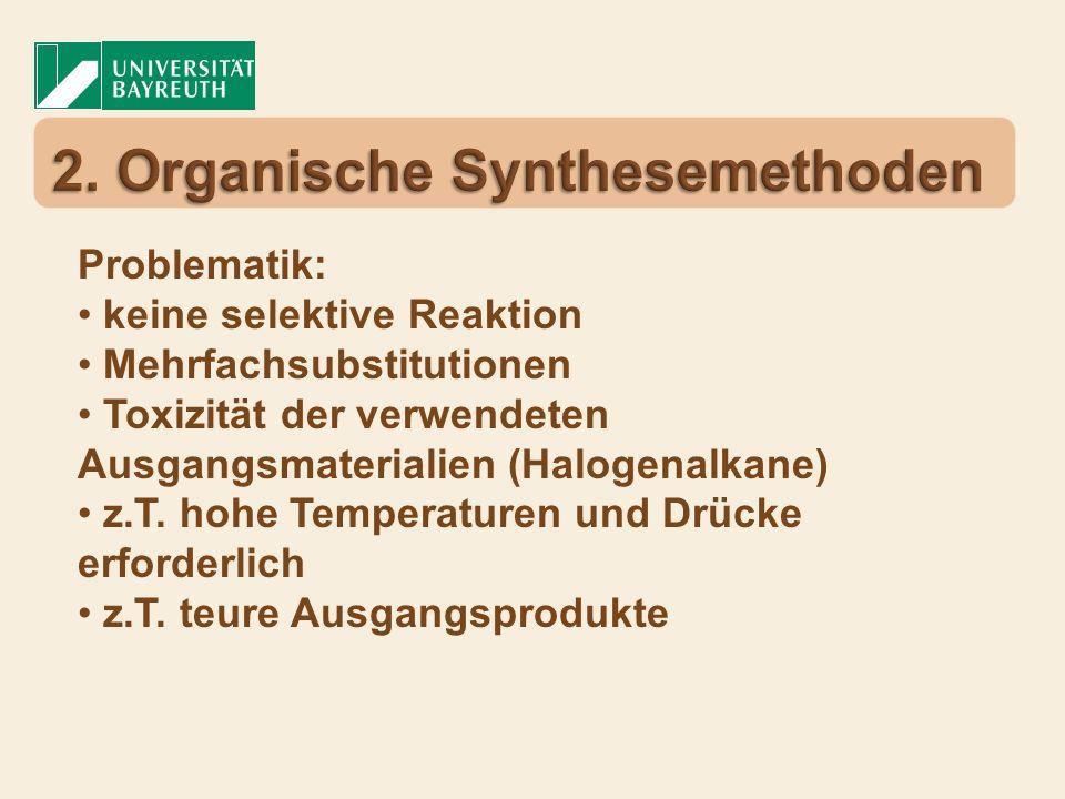 Problematik: keine selektive Reaktion Mehrfachsubstitutionen Toxizität der verwendeten Ausgangsmaterialien (Halogenalkane) z.T. hohe Temperaturen und