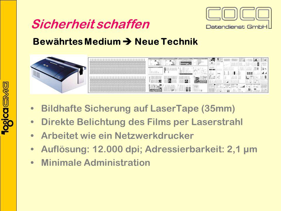 Bewährtes Medium Neue Technik Bildhafte Sicherung auf LaserTape (35mm) Direkte Belichtung des Films per Laserstrahl Arbeitet wie ein Netzwerkdrucker Auflösung: 12.000 dpi; Adressierbarkeit: 2,1 µm Minimale Administration Sicherheit schaffen