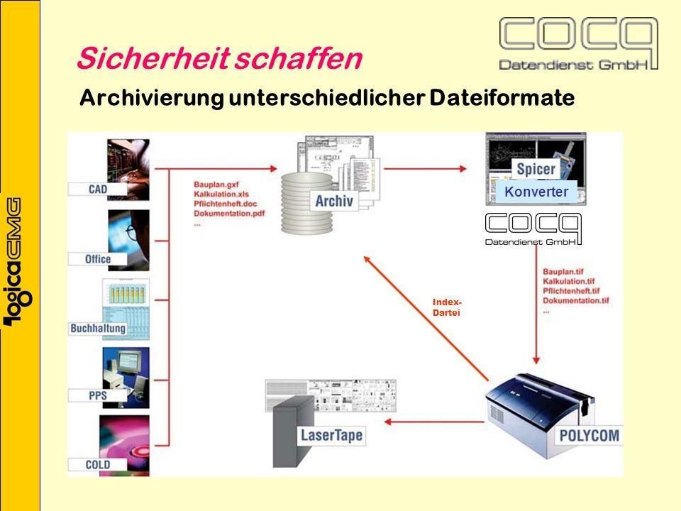 Archivierung unterschiedlicher Dateiformate Index- Dartei Konverter Sicherheit schaffen