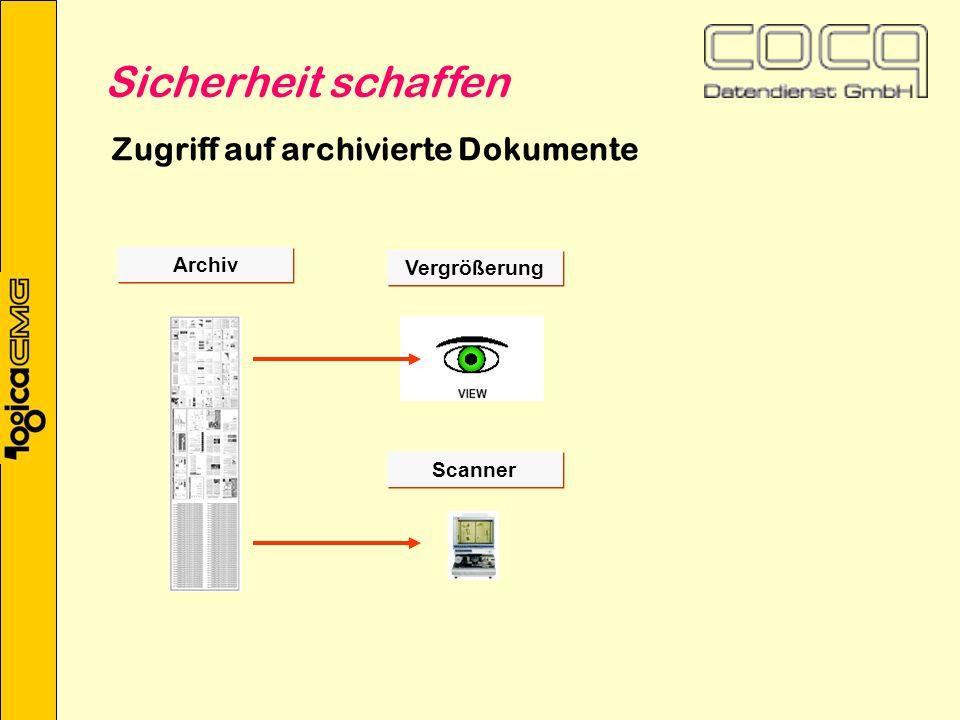 Zugriff auf archivierte Dokumente Archiv Scanner Vergrößerung Sicherheit schaffen