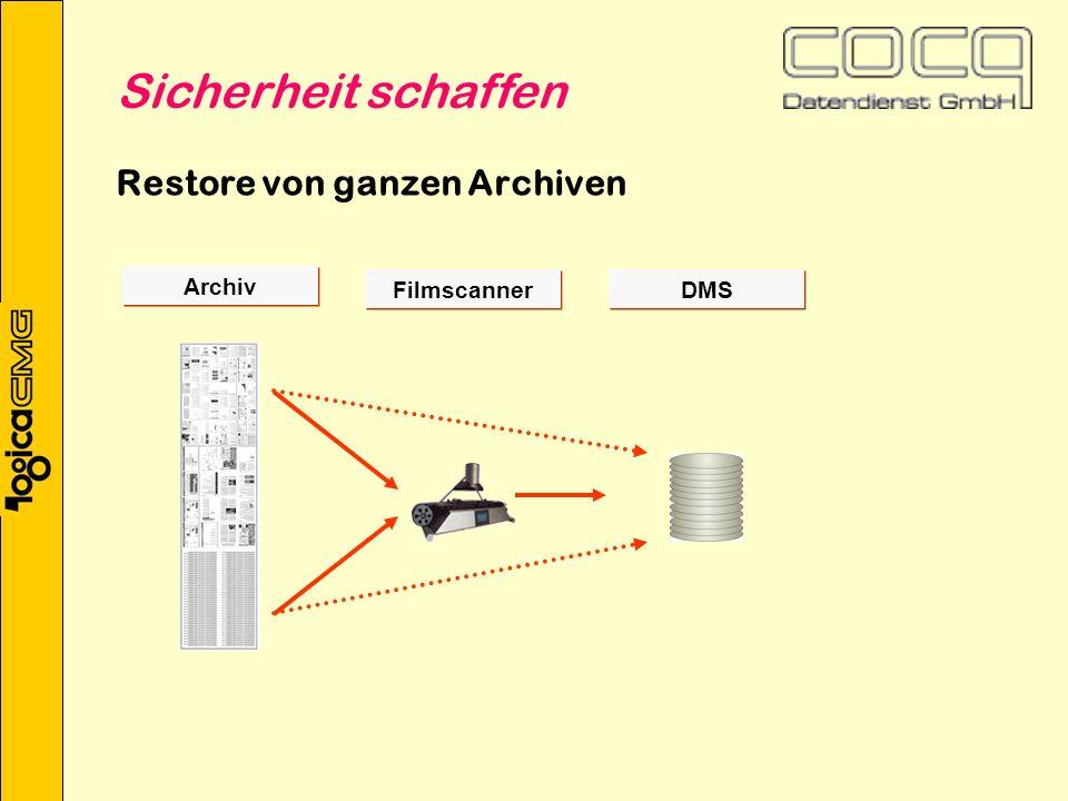 Restore von ganzen Archiven Archiv DMS Filmscanner Sicherheit schaffen