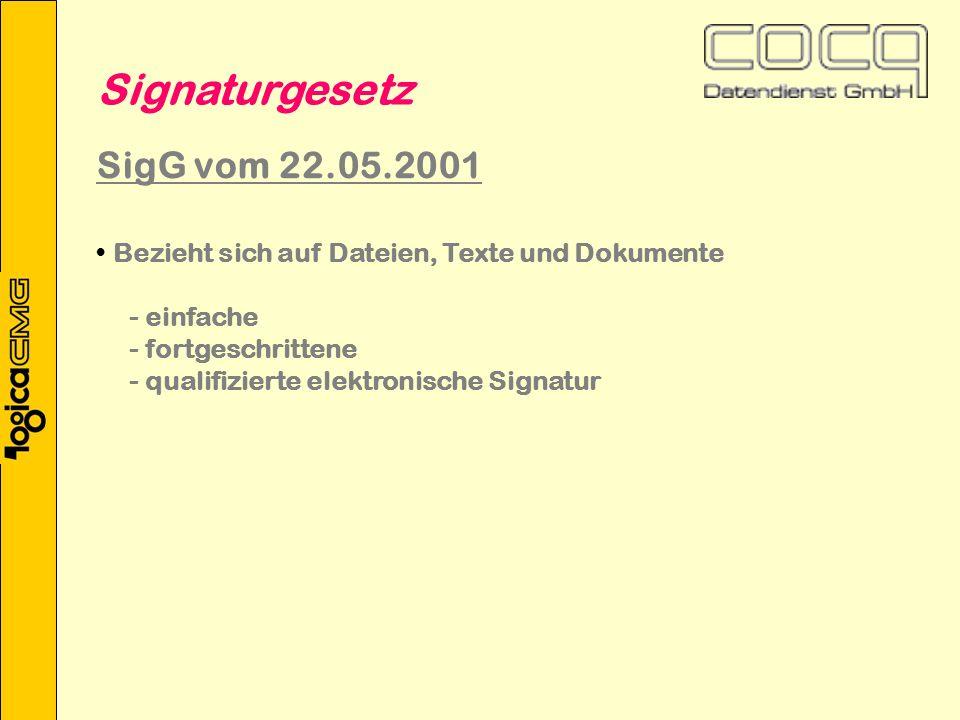 Bezieht sich auf Dateien, Texte und Dokumente - einfache - fortgeschrittene - qualifizierte elektronische Signatur Signaturgesetz SigG vom 22.05.2001