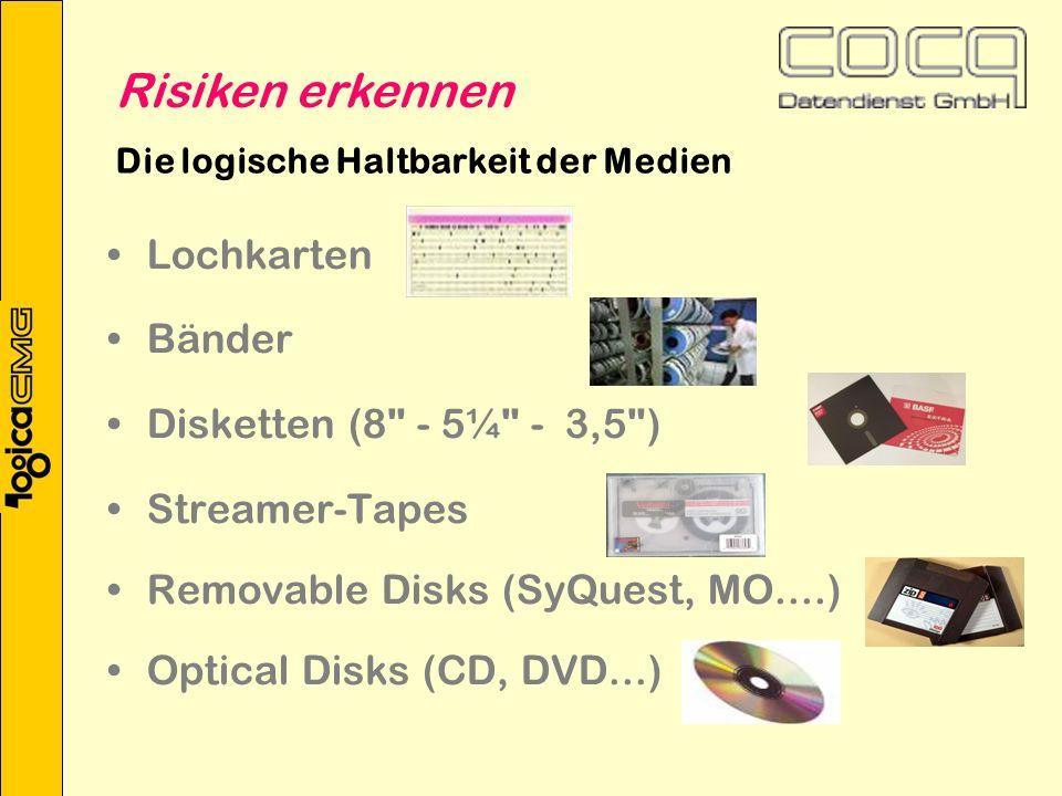 Die logische Haltbarkeit der Medien Lochkarten Bänder Disketten (8 - 5¼ - 3,5 ) Streamer-Tapes Removable Disks (SyQuest, MO....) Optical Disks (CD, DVD...) Risiken erkennen