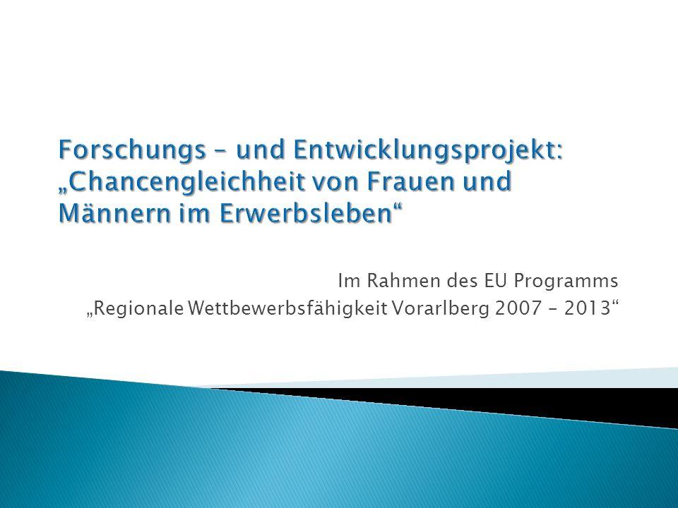 Im Rahmen des EU Programms Regionale Wettbewerbsfähigkeit Vorarlberg 2007 – 2013
