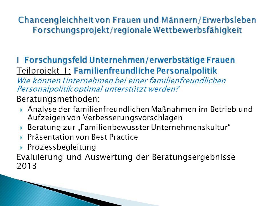 I Forschungsfeld Unternehmen/erwerbstätige Frauen Familienfreundliche Personalpolitik Teilprojekt 1: Familienfreundliche Personalpolitik Wie können Unternehmen bei einer familienfreundlichen Personalpolitik optimal unterstützt werden.
