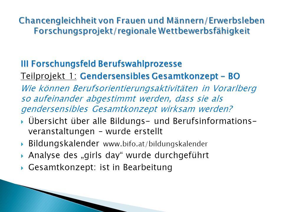 III Forschungsfeld Berufswahlprozesse Genderrollen Teilprojekt 2: Genderrollen Mit welchen Methoden kann das Berufswahlspektrum von Mädchen nachhaltig erweitert werden.