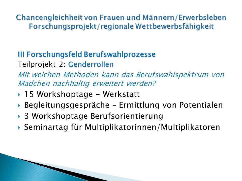 III Forschungsfeld Berufswahlprozesse Genderrollen Teilprojekt 2: Genderrollen Mit welchen Methoden kann das Berufswahlspektrum von Mädchen nachhaltig