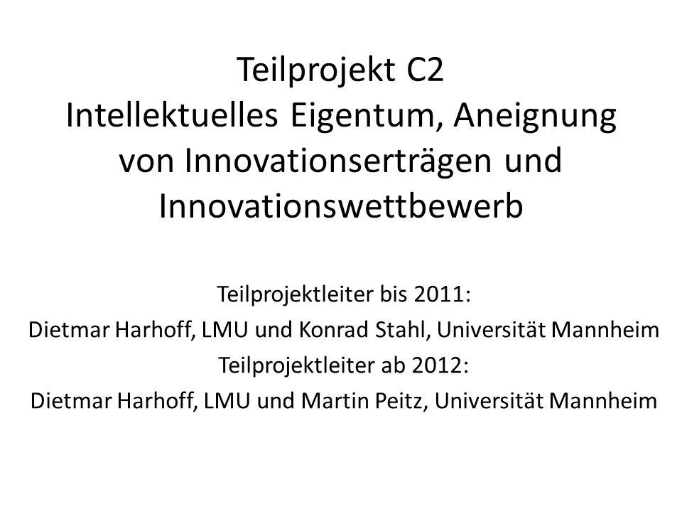 Thematische Ausrichtung und Arbeiten bis 2011 (1)Modellierung strategischen F&E-Verhaltens (2)Aufbereitung und Zusammenstellung von Daten (3)Empirische Analysen zu Patentierungs- und Markenstrategien (4)Entwicklung innovations- und wettbewerbspolitischer Schlussfolgerungen Dissertationen: Koehnen (1, 4), Sandner (2, 3), Appelt (3, 4) C OCKBURN, I.