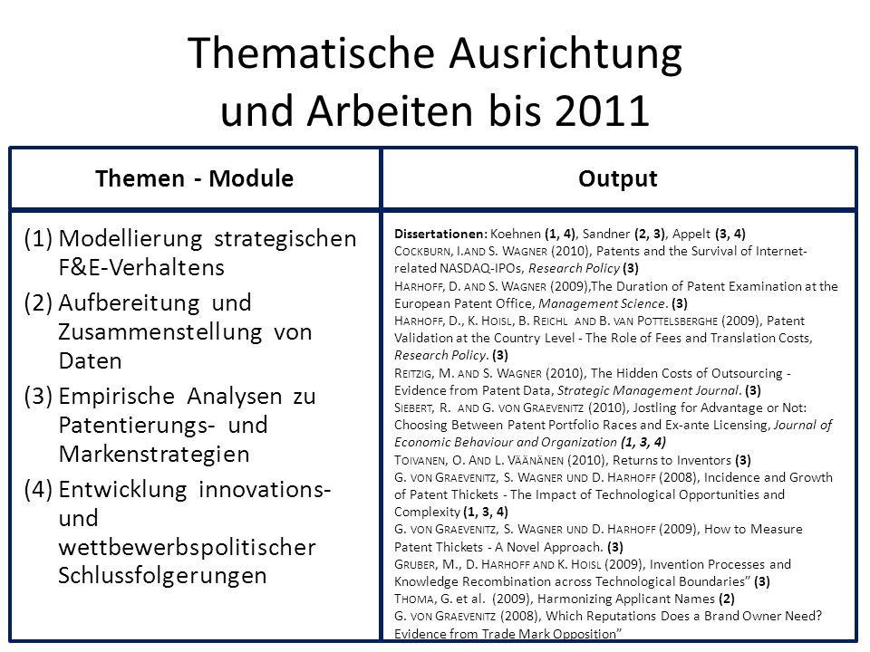 Thematische Ausrichtung und Arbeiten bis 2011 (1)Modellierung strategischen F&E-Verhaltens (2)Aufbereitung und Zusammenstellung von Daten (3)Empirisch