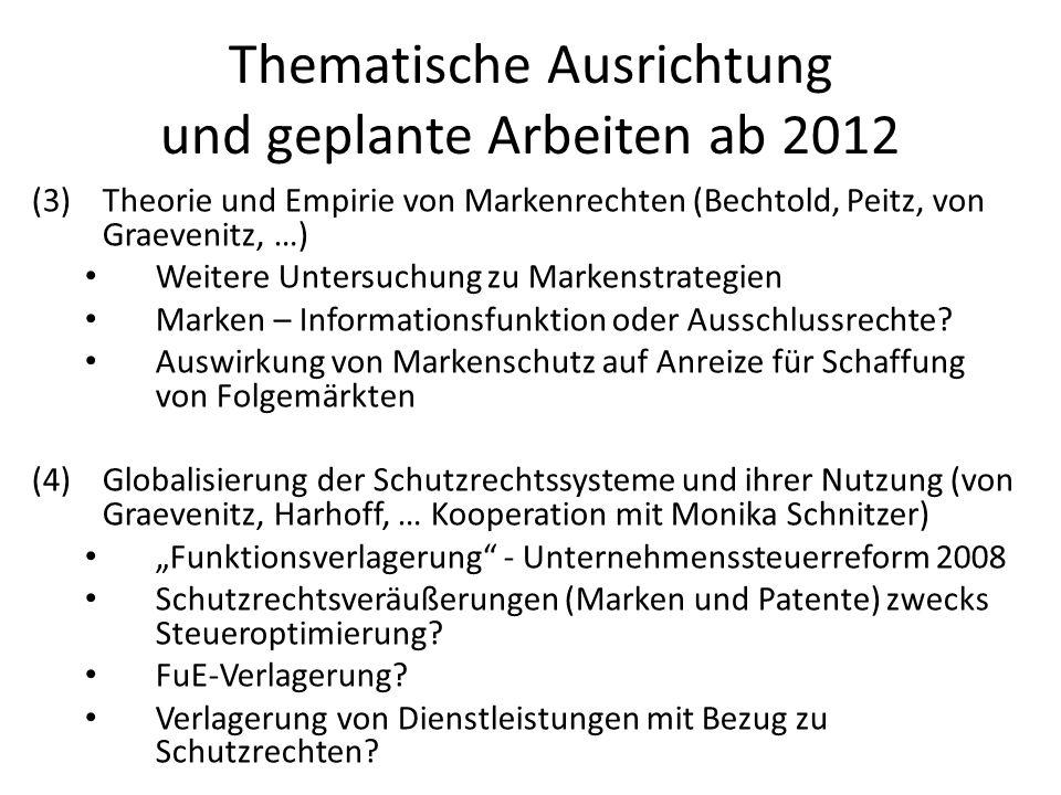 Thematische Ausrichtung und geplante Arbeiten ab 2012 (3)Theorie und Empirie von Markenrechten (Bechtold, Peitz, von Graevenitz, …) Weitere Untersuchu