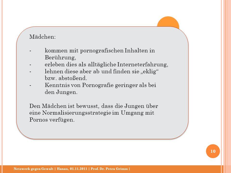 Netzwerk gegen Gewalt | Hanau, 01.11.2011 | Prof. Dr. Petra Grimm | Mädchen: - kommen mit pornografischen Inhalten in Berührung, -erleben dies als all