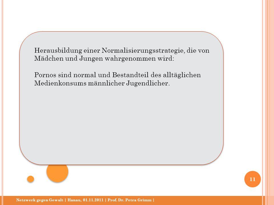 Netzwerk gegen Gewalt | Hanau, 01.11.2011 | Prof. Dr. Petra Grimm | Herausbildung einer Normalisierungsstrategie, die von Mädchen und Jungen wahrgenom