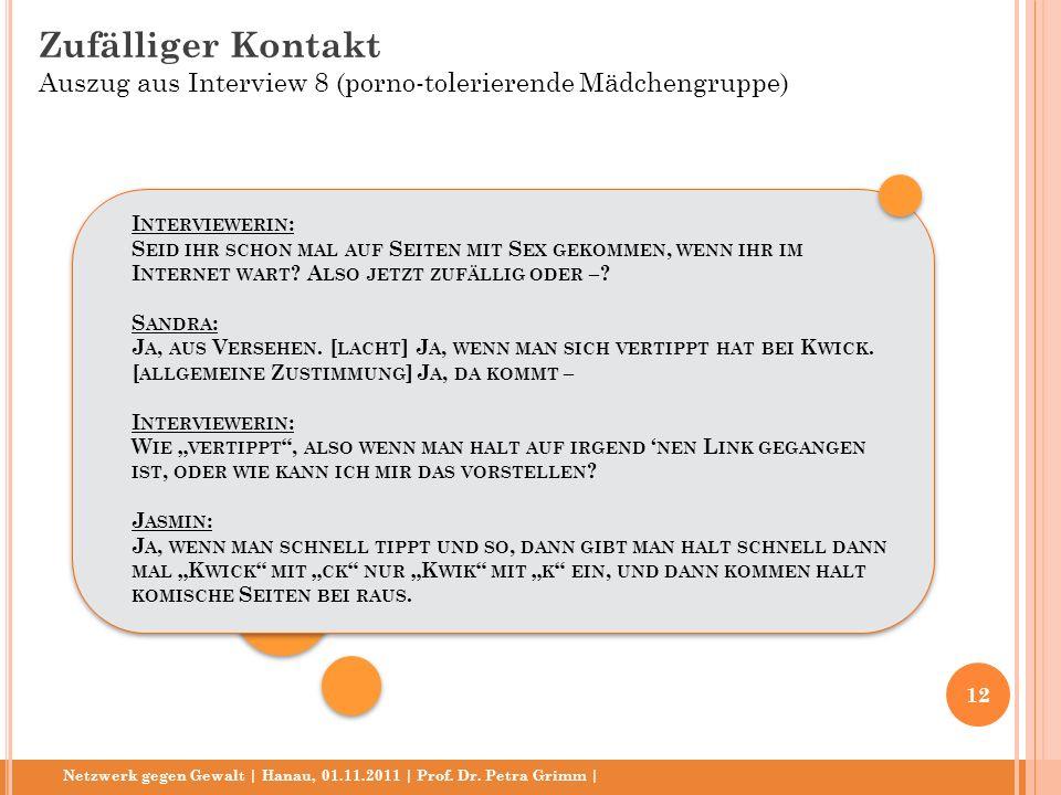 Netzwerk gegen Gewalt | Hanau, 01.11.2011 | Prof. Dr. Petra Grimm | I NTERVIEWERIN : S EID IHR SCHON MAL AUF S EITEN MIT S EX GEKOMMEN, WENN IHR IM I